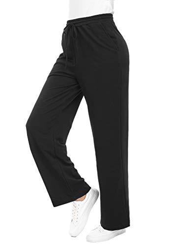 Akalnny Damen Hose Freizeithosen Lang Sporthose Baumwolle Pyjamahose Einfarbig Yogahose Schwarz XL