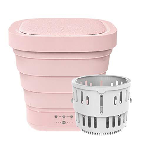 Lavadora Turbo con bañera plegable, portátil, mini ropa interior automática, plegable, con secadora de centrifugado, para viajes, viajes de negocios, camping, dormitorios, gris rosa