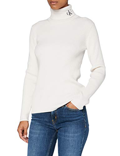 Calvin Klein Jeans Damen Rib Roll Neck with Ck Pullover, Soft Cream/White, L