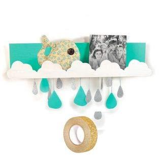 Houten wandplank 42 x 9 cm Wolken + Gouden glitter tape 5 m