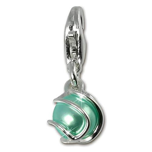 Breloque SilberDream - En argent sterling 925 - Pierre de couleur vert menthe - Pendentif pour bracelet, collier ou boucles d'oreilles - FC250G