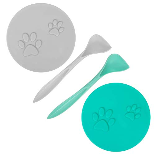 SLSON Pack of 2 animal food can lids with 2 spoons and cute cat paw pattern for can food for dog and cat food, fits almost all food cans