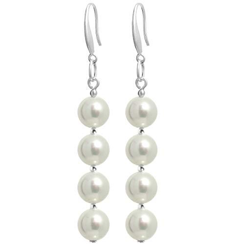 2LIVEfor Perlenohrringe Tropfen Ohrringe Perlen lang Hängend Silber Versilbert mit echten Perlen Weiß Tropfenform Ohrhänger mit langer Kette schlicht Stab Ketten weisse Perle Tropfenform