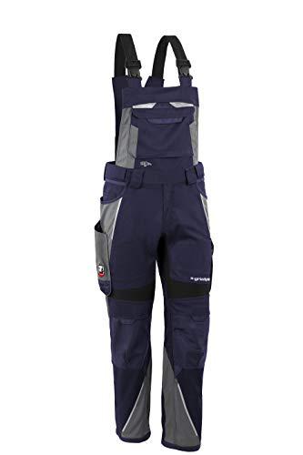 Grizzlyskin Latzhose Marine/Grau N62 - Workwear Arbeitshose für Männer & Damen, Unisex Blaumann, Codura-Schutzhose mit vielen Taschen