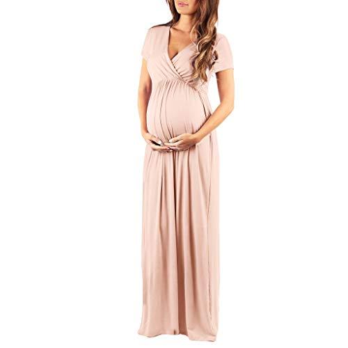 Robe Grossesse Longue, Femme Été Boho Robe de Maternité Grossesse Manches Courtes Chemise de Nuit Femme Pregnant Robe De Plage Femmes Robe S-XL (XL, Kaki)