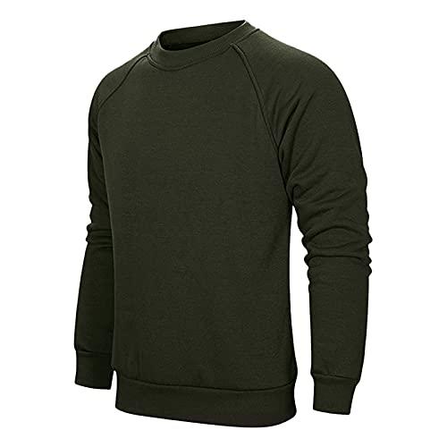 PANGF Sudadera básica de manga larga para hombre, para el tiempo libre, deporte, de algodón cálido, tallas M hasta 3XL., verde militar, XL