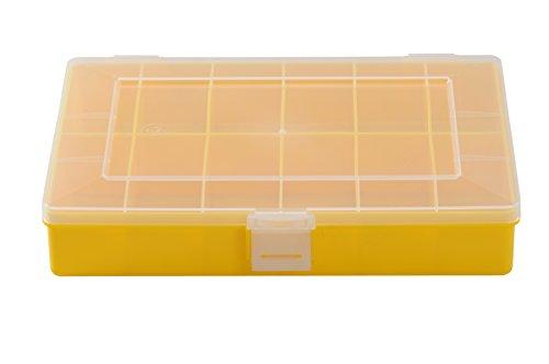 hünersdorff Sortimentskasten: stabile Sortierbox (PP) mit fester Fachaufteilung (12 Fächer), Sortierkasten-Maße: T170 x B250 x H46 mm, Made in Germany