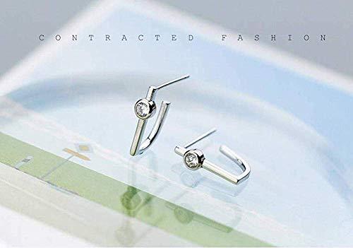 E-H Stijlvolle Eenvoud S925 Zilveren oorgesp Vrouwelijke Temperament Persoonlijkheid Enkele Boor U-Shaped Oorbellen Eenvoudige Geometrische Oorbellen Sieraden, 925 Zilver d