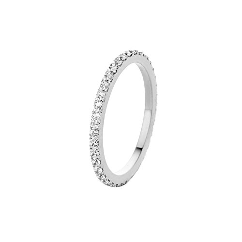 MelanO Ring, Vorsteckring SADÉ CZ aus Edelstahl mit Zirkonia in Farbe kristall FR17SSCR (64 (20.4))
