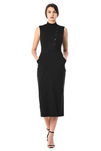 eShakti FX Side Button Cotton Knit Sheath Dress Black