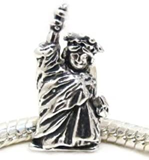 Authentic EvesErose Highest Quality Charm Beads Pendents, Many Styles on Sale, You Choose Style, Fits Authentic Pandora Charms, EvesErose, Chamilia, European Bracelet & Necklace Compatible (Statue Of Liberty)