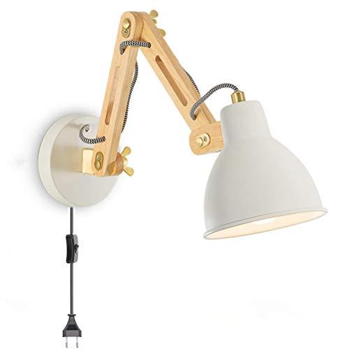 Aplique de pared industrial Lámpara de pared de brazo largo de madera ajustable con interruptor y enchufe Lámpara de noche Lámparas de lectura para sala de estar, Lámpara de dormitorio vintage E27