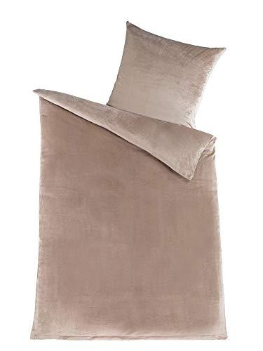 MALIKA Winter Plüsch Bettwäsche Nicky-Teddy Cashmere Coral Fleece 135x200 155x220 200, Größe:155 x 220 cm, Designe:Taupe