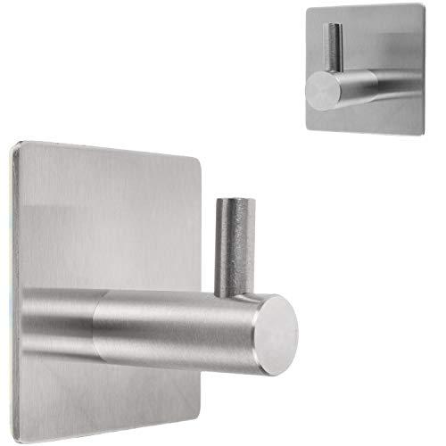 Toallero de alta calidad, 4 unidades, ganchos adhesivos de pared con adhesivo 3M, de acero inoxidable, sin agujeros, ideal como gancho para albornoces y toallas, autoadhesivo