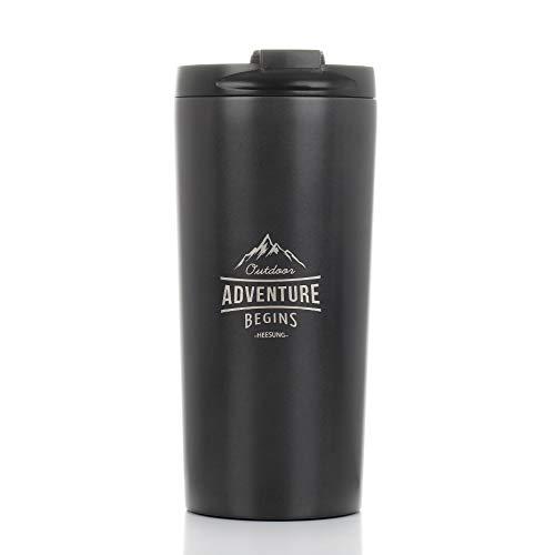 HEESUNG - Set di caffettiere da viaggio, in acciaio inox, 350 ml, isolato sotto vuoto, tazza da tè (grigio canna di fucile)