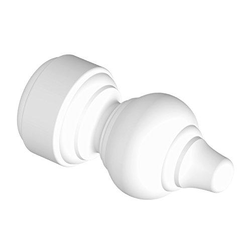 Flairdeco Endstücke für 28 mm Ø Gardinenstange, Rillenform, Plastik, Weiß, 2 Stück