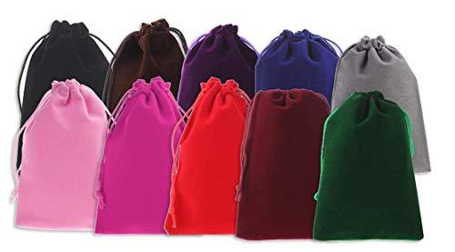 LOKIPA 巾着袋 ベロア調 10枚入り 10x15cm ベルベット ジュエリーポーチ アクセサリー保存 ギフトバッグ 小物入れ ラッピング プレゼント用 収納袋