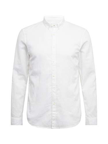 TOM TAILOR Denim Blusen, Shirts & Hemden Strukturiertes Hemd aus Leinengemisch White, L