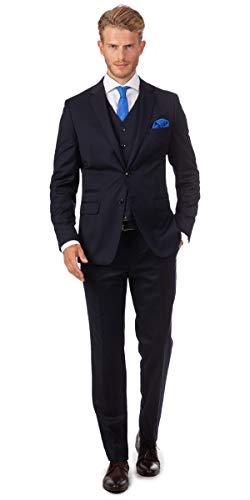 Linus Eleganter Herren Slim Fit Dreiteiler Anzug in Wolle S 120's klassisch in dunkel blau (48)
