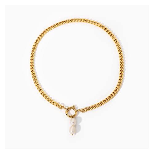 JUSTJUNFEN Collar de Chicas Collar de Cadena Cubana Joyas de Acero inoxidable18k Chapado en Oro de la Hebilla de Resorte Chocker 2 Collares Colgantes de Perlas de Agua Dulce Accesorios de Moda