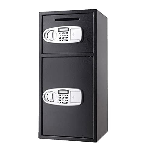 GQTYBZ Caja Fuerte de Seguridad, Caja Fuerte Digital de Puerta SóLida 2 en 1, Caja Fuerte a Prueba de Fuego de Acero, para Ventanas, Tiendas, Restaurantes, Joyería, Almacenamiento de Documentos