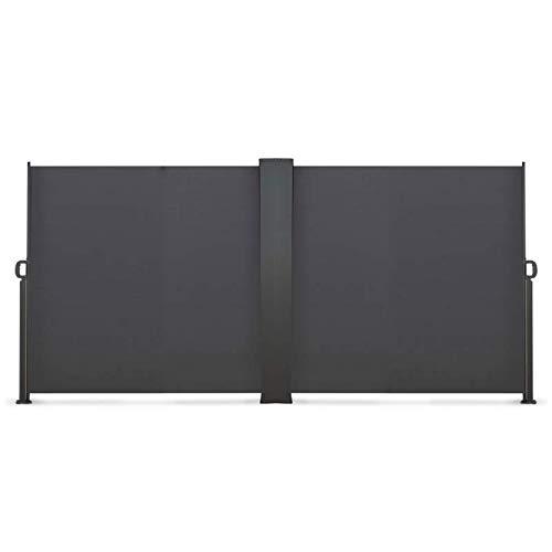 IDMarket - Paravent extérieur rétractable Double 800 x 160 cm Gris Anthracite Store latéral