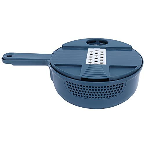 Cortador De Verduras, Cortador De Verduras Manual De Seis Tipos De Cuchillas Con Protector De Mano Para Cocina(Azul oscuro)