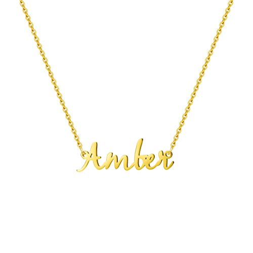 MEMGIFT Name Necklace for GirlsStainless Steel Jewelry18K Gold Filled Necklace Unique Delicate Birthday forFriend Kids Girlfriend Baby Sister Little GirlAmber