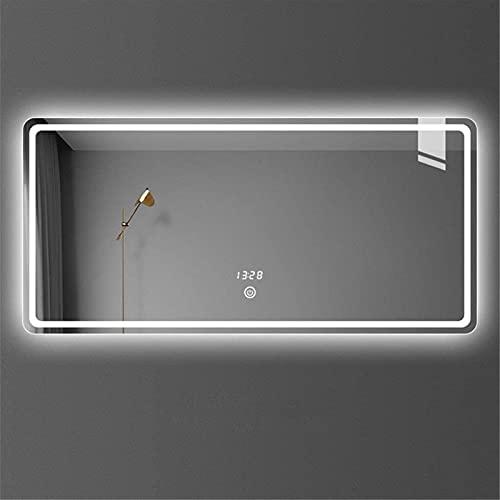 Espejo baño, Espejo de maquillaje montado en la pared LED Iluminado Baño retroiluminado Espejo rectangular con luz, con función de atenuación y interruptor de sensor táctil, luz blanca / luz neutra /