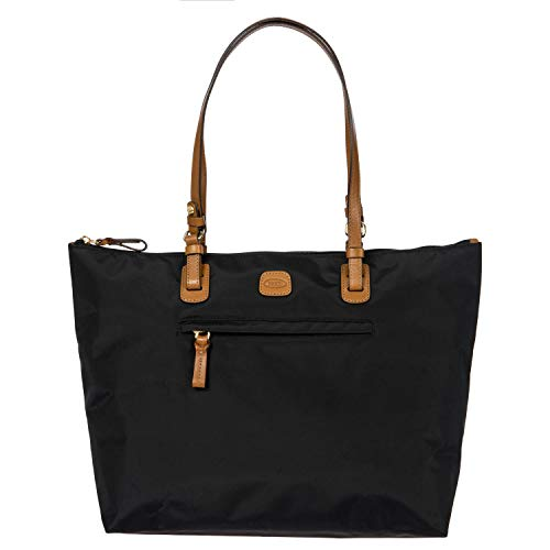 Brics | X-Bag Large Sportina 3-Way Shopper Tote Bag | Black | Weekender Bag | Carry On | Versatile Crossbody Option
