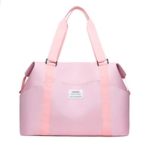 Yiqi Foldable Travel Duffel Bag Luggage Sports Gym Water Resistant, Hand Cabin Luggage Carry-On Travel Bag Shoulder Bag Messenger Bag Medium Holiday Duffle Lightweight Bag (Pink, 43 * 14 * 30cm)