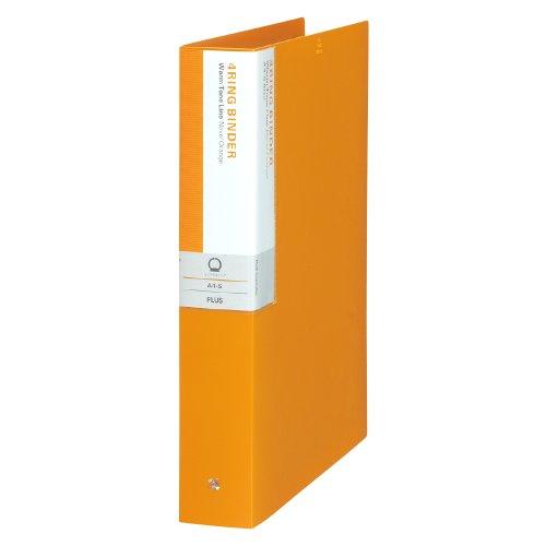 プラス リングバインダー A4縦 4穴 背幅50mm デジャヴ 89-942 ネーブルオレンジ