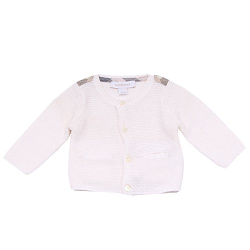 BURBERRY 7286T Cardigan Bimba Cotone Bianco Maglione Sweater Cotton Kid [9 Months]