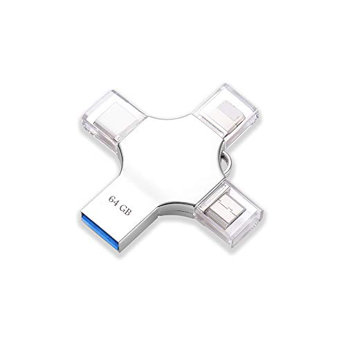 maxineer Chiavetta USB 64GB per iPhone Android Pendrive USB 3.0 Flash Drive Memory Stick Espansione Memoria per iOS iPad OTG Android Type C Computer Macbook (64GB)