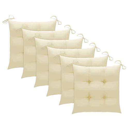 vidaXL 6X Cojines de Silla Asiento Tumbonas Patio Terraza Exterior Acolchado Almohadilla Cómoda Práctico Decoración Tela Blanco Crema 50x50x7 cm