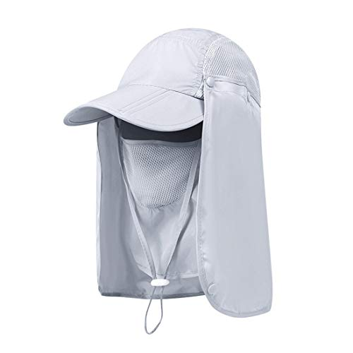 Wxllzlife Women & Men Outdoor Sun Hat UV Protection Fishing Hiking Caps with Face Neck Flap Cover UPF 50+ Light Grey