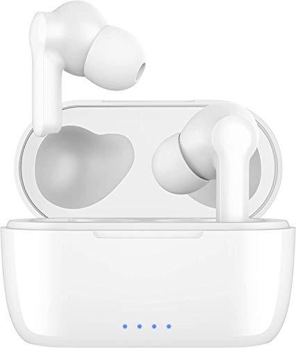 Auriculares Inalámbricos Bluetooth 5 AptX Graves Mejorados, 4-Micrófonos Auriculares Bluetooth con CVC 8.0 Cancelación de Ruido, IPX7 Impermeable, Carga Rápida USB-C para Android y iPhone