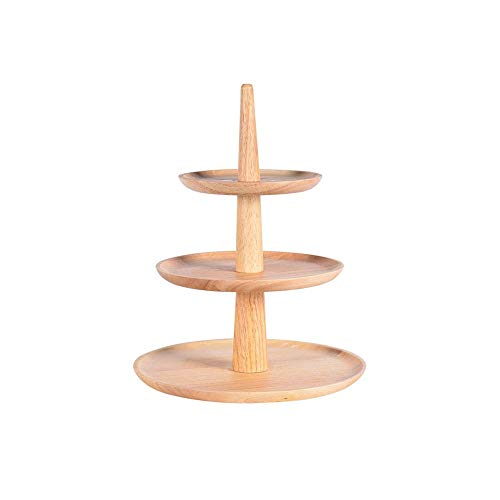 DAGONGREN 3 Tier Cake Stand Wooden Serving Tray Afternoon Tea Wedding Plate Party Tableware Bakeware Cake Shop Cheese Dish Salad Cake Rack