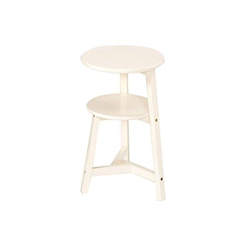 Ali@ Table d'appoint de salon en bois massif en bois massif (Couleur : Blanc, taille : 75cm)