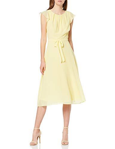 Vestido amarillo de corte clásico elegante de fiesta