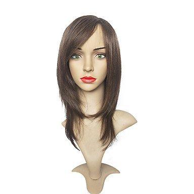 Js-wigs Perruque synthétique droite par couches Coupe Cheveux synthétiques côté supplémentaire Marron Perruque femme long Cosplay Perruque/naturel des Perruques/Party Perruque Capless
