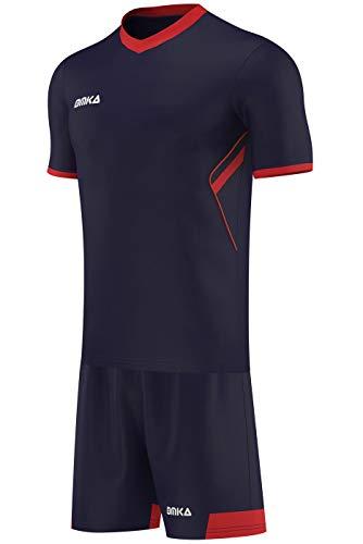 OMKA 6er Herren Trikotsatz Trikotset 2-teilig Fußball Handball Rugby Volleyball (Jersey + Shorts), Größe:S, Farbe:Marineblau/Rot