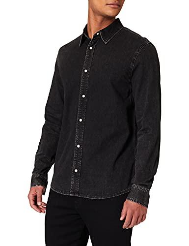Calvin Klein Jeans Herren Slim Foundation Shirt Hemd, Bb220-Washed Black, L