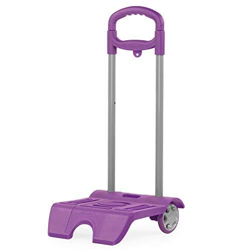 SKPAT - Trolley porta zaino di scuola. ALtura regolabile. Ruote PVC. Adattabile a qualsiasi zaino. Molto leggero e robusto. Maniglia telescopica 1015, Color Viola