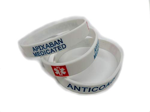 www.wristbandsforyou.com 2x APIXABAN medicated Wristband MEDICAL AWARENESS ALERT BRACELET