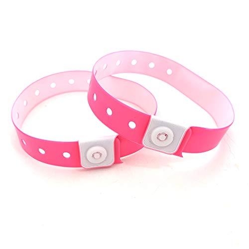 Set de 100 pulseras de plástico/vinilo para eventos, personalizables e impermeables (rosa)