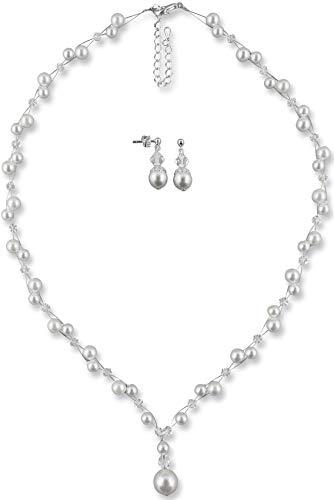 Rivelle Damen Brautschmuck Set weiß Schmuckset Swarovski kristall Perlen Halskette Collier Ohrringe Schmuck Hochzeit Geschenkbox