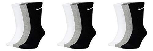 Nike SX7664 - 9 pares de calcetines deportivos para hombre y mujer, color blanco, gris y negro, tallas 34 36 38 40 42 44 46 48 50, talla 38 – 42, color: gris/gris
