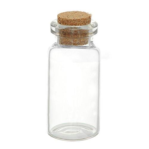 5 pcs, mini - botellas de cristal con corcho, cilíndrico, 5,3 cm X2, 2 cm