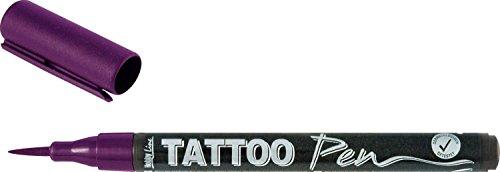 Kreul 62108 - TattooPen, Kosmetiktinte auf Wasserbasis, hält bis zu 5 Tage, dermatologisch getestet, vegan, parabenfrei, auswaschbar ab 30°C aus den meisten Textilien, Strichstärke 0,5 - 3 mm, violett
